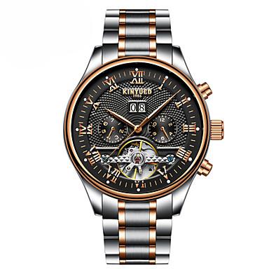 levne Pánské-Pánské mechanické hodinky Swiss Automatické natahování Nerez Černá / Růžové zlato Kalendář Chronograf Hodinky na běžné nošení Analogové Luxus Klasické Na běžné nošení Elegantní Cool - Černá Zlat
