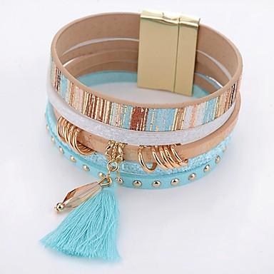 Γυναικεία Κρυστάλλινο Wrap Βραχιόλια Δερμάτινα βραχιόλια Κρεμαστό κυρίες Απλός Μοντέρνα Κρύσταλλο Βραχιόλι Κοσμήματα Μπλε Για Καθημερινά / Δερμάτινο