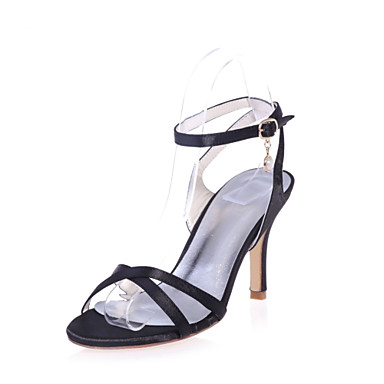Mujer Zapatos Satén Verano Pump Básico Sandalias Tacón Stiletto Puntera abierta Negro Prix Authentique Pas Cher ow2ecefkqH