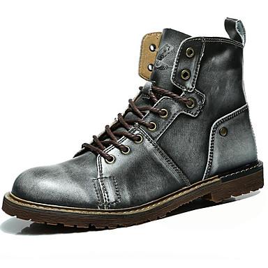 Hombre Zapatos Cuero Cuero de Napa Otoño Invierno Botas de Combate Confort Botas Botines/Hasta el Tobillo para Casual Marrón Claro FpZy7