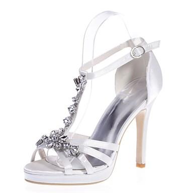 Mujer Zapatos Satén Primavera / Verano Pump Básico Sandalias Nulo Tacón Stiletto Puntera abierta Nulo Pedrería Azul / Rosa / Marfil g2B8mX