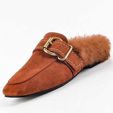 Mujer Zapatos Cuero Primavera / Verano Confort Zuecos y pantuflas Tacón Plano Negro / Beige / Marrón Livraison Gratuite À Acheter Se 5zHAEd76