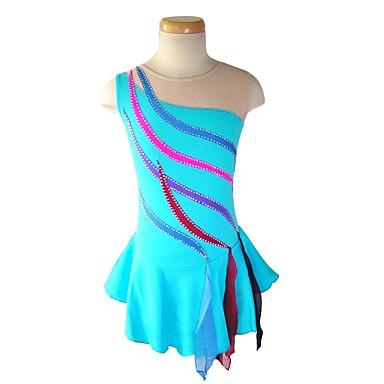 Vestidos para Patinação Artística Mulheres Para Meninas Patinação no Gelo Vestidos Azul Céu Elastano Sem Elasticidade Espetáculo Praticar Roupa para Patinação Sólido Sem Manga Patinação no Gelo