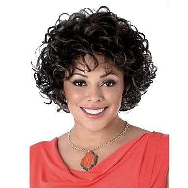 Συνθετικές Περούκες Σγουρά Σγουρά Περούκα Κοντό Μαύρο Μαύρο / Σκούρο Auburn Συνθετικά μαλλιά Γυναικεία Μαλλιά μπαλαγιάζ Μαύρο StrongBeauty