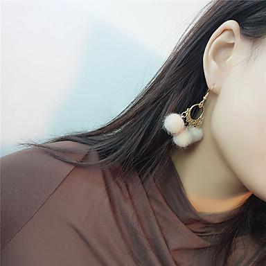 Γυναικεία Κρεμαστά Σκουλαρίκια θαυμαστής σκουλαρίκια Μπάλα Βίντατζ Μοντέρνα Γούνα Σκουλαρίκια Κοσμήματα Γκρίζο / Κόκκινο / Κρασί Για Πάρτι Επίσημο