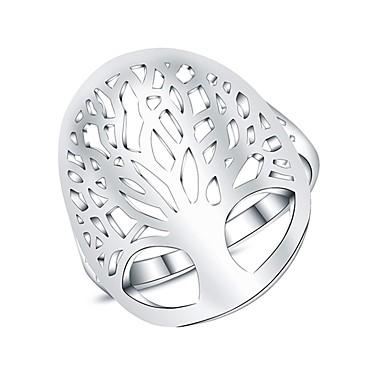 billige Motering-Dame Statement Ring Micro Pave Ring Sølv Sølvplett damer Mote Daglig Smykker filigran Livets tre