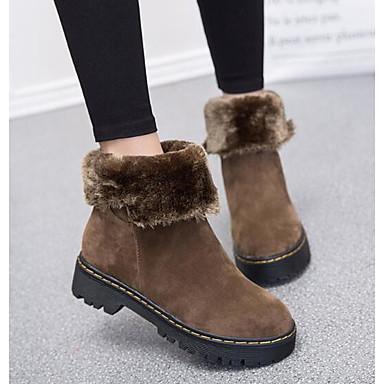 100% En Ligne Vente Originale Mujer Zapatos Cuero Nobuck Invierno Botas de nieve Botas Tacón Plano Mitad de Gemelo Negro / Marrón / Rojo Vente Nouvelle V6Grr