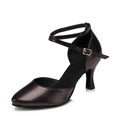 preiswerte Tanzschuhe-Damen Tanzschuhe Leder Schuhe für modern Dance Absätze Maßgefertigter Absatz Maßfertigung Schwarz / Silber / Rot / Innen / EU41