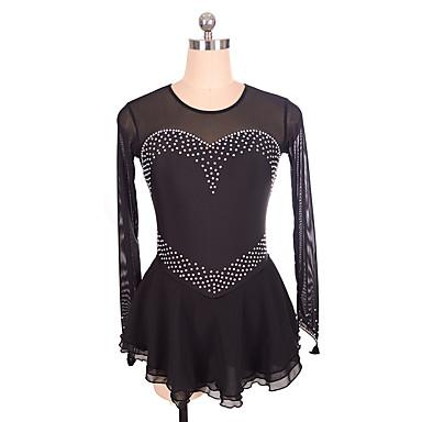Φόρεμα για φιγούρες πατινάζ Γυναικεία Κοριτσίστικα Patinaj Φορέματα Μαύρο Spandex Ανελαστικό Εκπαίδευση Ανταγωνισμός Ενδυμασία πατινάζ Μονόχρωμο Αμάνικο Πατινάζ Πάγου Πατινάζ για φιγούρες