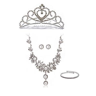 cheap Jewelry Sets-Women's Chain Necklace Bridal Jewelry Sets Flower European Fashion Imitation Pearl Imitation Diamond Earrings Jewelry White For Wedding Party / Body Jewelry