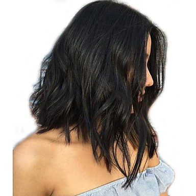 Human Hair Glueless Full Lace Full Lace Wig Bob Brazilian Hair Loose Wave Natural Wave Wig 130% Density Baby Hair Bleached Knots Women's Short Medium Length Human Hair Lace Wig XCSUNNY / Wavy