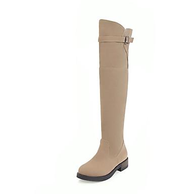 Mujer Zapatos PU Otoño invierno Botas de Moda Botas Tacón Cuadrado Dedo redondo Sobre la Rodilla Blanco / Negro Cg9NyX7Jr