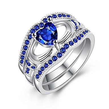 billige Motering-Dame Band Ring Safir Kubisk Zirkonium Syntetisk safir Blå Blå LED Gullbelagt Geometrisk Form damer Mote Bryllup Gave Smykker stables