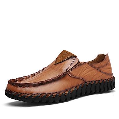 Hombre Zapatos Cuero de Napa / Cuero Primavera Confort Zapatos de taco bajo y Slip-On Negro / Morrón Oscuro 2QRvi