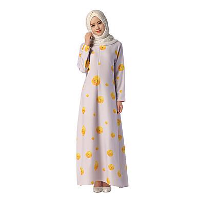Ethnique Et Religieux Robe Arabe Abaya Robe Caftan Jalabiya Femme Robes  Style Ethnique Long Fête / Célébration Polyester Tenue Violet Claire Fleur  De ...