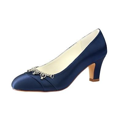 Γυναικεία Γαμήλια παπούτσια Κοντόχοντρο Τακούνι Στρογγυλή Μύτη Κρυσταλλάκια Ελαστικό ύφασμα Βασική Γόβα Άνοιξη / Φθινόπωρο Μαύρο / Σκούρο μπλε / Πάρτι & Βραδινή Έξοδος / EU37