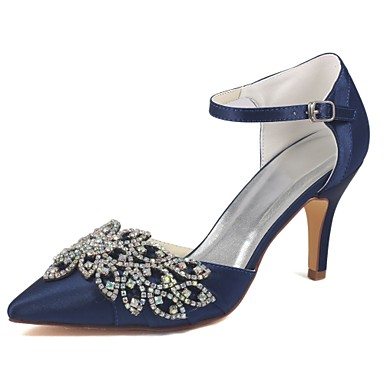 cheap Wedding Shoes-Women's Wedding Shoes Glitter Crystal Sequined Jeweled Ankle Strap Heel Pointed Toe Classic Dress Party & Evening Crystal Solid Colored Elastic Fabric Walking Shoes Summer Dark Blue / EU41
