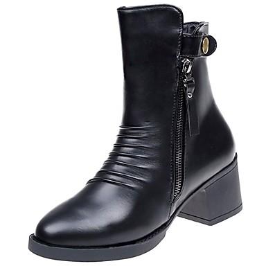 Mujer Zapatos Vellón Primavera Otoño Confort Botas de nieve Forro de piel Botas Dedo redondo Mitad de Gemelo Con Cordón para Casual Negro En Ligne À Vendre Classique Sortie NnE4QgJpil