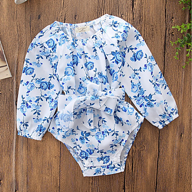 povoljno Odjeća za bebe-Dijete Djevojčice Jednostavan / Vintage Izlasci / Ležerno / za svaki dan Cvjetni print Dugih rukava Pamuk bodysuit Plava / Slatko / Dijete koje je tek prohodalo