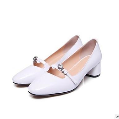 Mujer Zapatos PU Primavera / Verano Confort Sandalias Tacón Cuadrado Blanco / Rosa KVI7R1v