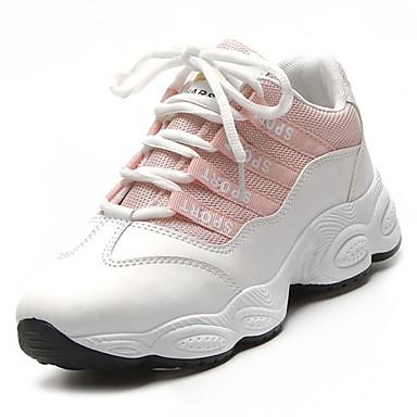 Mujer Zapatos PU microfibra sintético Primavera / Otoño Confort Zapatillas de Atletismo Paseo Tacón Plano Dedo redondo Negro / Negro / Réduction Des Achats En Ligne Cjwsim7