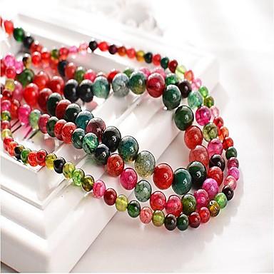 preiswerte Perlen & Schmuck Herstellung-DIY Schmuck 48 Stück Glasperlen Synthetische Edelsteine Regenbogen Kreisförmig Korn 1 cm DIY Modische Halsketten Armbänder