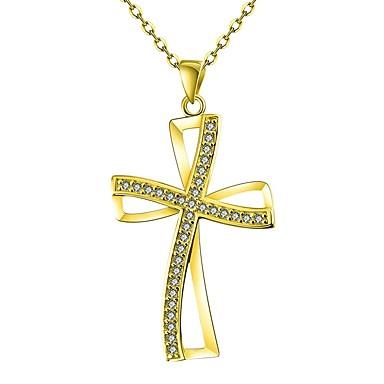 Γυναικεία Cubic Zirconia μικροσκοπικό διαμάντι Κρεμαστά Κολιέ Cruce κυρίες Κλασσικό Rose Gold Χρυσό Χρυσό Τριανταφυλλί Κολιέ Κοσμήματα 1 Για Δώρο Καθημερινά