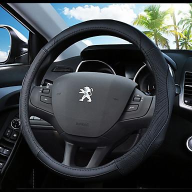 billige Interiørtilbehør til bilen-Rattovertrekk til bilen ekte lær 38 cm Blå / Svart / Svart / Rød Til Peugeot 307 / 301