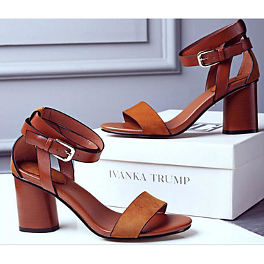 4ff733689c048 Women s Shoes PU Spring Fall Comfort Sandals Chunky Heel for Casual Black  Brown  06474024