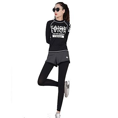 Mulheres Conjunto Camiseta e Calça de Corrida - Preto Esportes Conjuntos de  Roupas Ioga e29cc40c2ba42