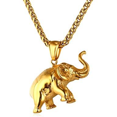 levne Pánské šperky-Pánské Dámské Náhrdelníky s přívěšky franko řetěz Slon Zvíře Hip Hop Nerez Zlatá Stříbrná Náhrdelníky Šperky 1 Pro Denní Obřad