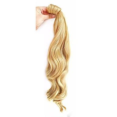 Com Presilha Rabos-de-Cavalo / Pedaço de cabelo Envolver em torno Cabelo Humano Pedaço de cabelo Alongamento Ondulado