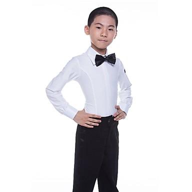 povoljno Odjeća i obuća za ples-Latino ples Majice Dječaci Seksi blagdanski kostimi Spandex Satin Bow Dugih rukava Prirodno Top