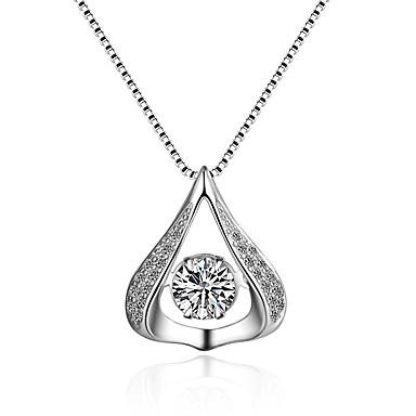 povoljno Modne ogrlice-Žene Kubični Zirconia Moissanite Ogrlice s privjeskom Klasik Vintage Moda Zircon Srebrna Pink Ogrlice Jewelry 1 Za Vjenčanje Angažman