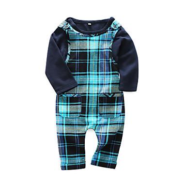 Μωρό Αγορίστικα Καθημερινό Καθημερινά Καρό Μακρυμάνικο Βαμβάκι Σετ Ρούχων Βαθυγάλαζο