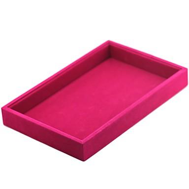 preiswerte Perlen & Schmuck Herstellung-Schmuckbehälter Manschettenknopf-Kasten Quadratisch Leinen Schwarz Weiß Rot Bonbonrosa Hellgrau Stoff