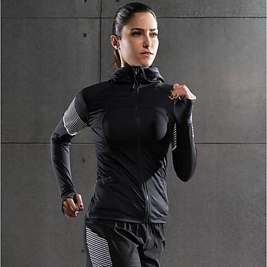 Γυναικεία Jachetă de Alergat Βαμβάκι Γιόγκα Fitness Γυμναστήριο προπόνηση Φούτερ Μακρυμάνικο Ρούχα Γυμναστικής Γρήγορο Στέγνωμα