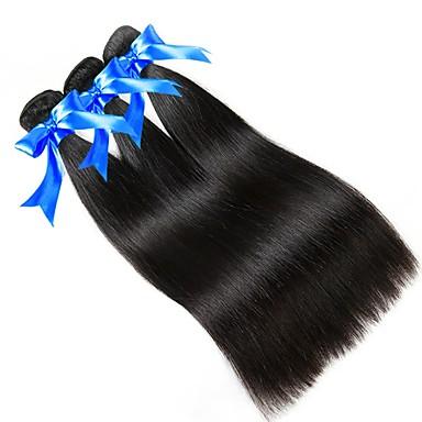 povoljno Ekstenzije od ljudske kose-3 paketa Peruanska kosa Ravan kroj Virgin kosa Ljudske kose plete 8-28 inch Prirodna boja Isprepliće ljudske kose novorođenče Sladak Mini Proširenja ljudske kose / 10A
