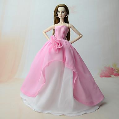 voordelige Poppenaccessoires-Poppenjurk Jurken Voor Barbie Roze Chiffon Kleding Voor voor meisjes Speelgoedpop