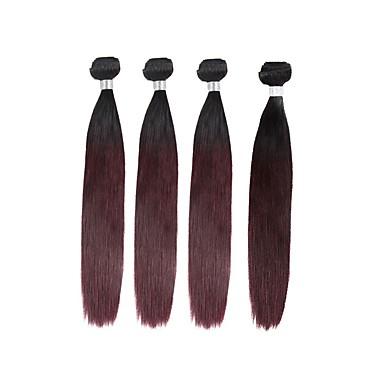 4 πακέτα Βραζιλιάνικη Ίσιο Remy Τρίχα Ombre Υφάνσεις ανθρώπινα μαλλιών Επεκτάσεις ανθρώπινα μαλλιών / 10A / Ίσια