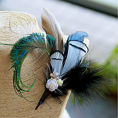 Λουλούδια Γάμου Μπουτονιέρες / Μαντήλι / Καρφίτσες & Τσιμπιδάκια Γάμου / Εκδήλωση / Πάρτι Φτερά / Φτερά Χήνας / Υφάσματα 6,3