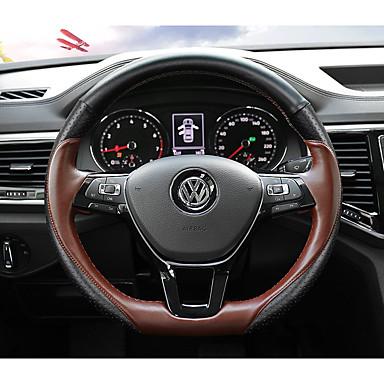 billige Interiørtilbehør til bilen-Rattovertrekk til bilen ekte lær 38 cm Svart / kaffe Til Volkswagen Teramont 2017