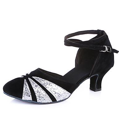 preiswerte Tanzschuhe-Damen Tanzschuhe Wildleder Schuhe für modern Dance Pailetten Absätze Kubanischer Absatz Maßfertigung Schwarz und Gold / Schwarz und Silbern / Schwarz / Rot