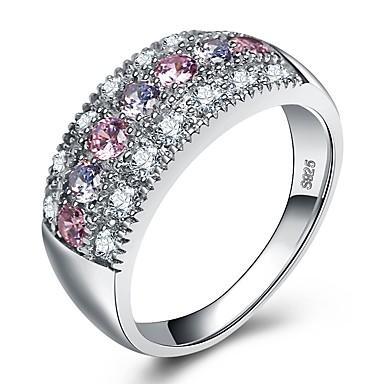 Γυναικεία Band Ring Cubic Zirconia Ανάμεικτο χρώμα Ζιρκονίτης Ασημί Circle Shape Βίντατζ Βασικό Μοντέρνα Γάμου Αρραβώνας Κοσμήματα Κρεμαστό