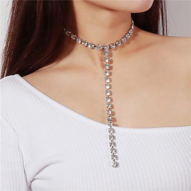 levne Dámské šperky-Dámské Diamant Kubický zirkon Řetízky dlouhý náhrdelník Laso Kapka Srdce Vlk dámy Módní Křišťál Stříbrná Náhrdelníky Šperky Pro Párty Dar