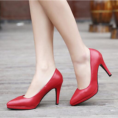 Mujer Zapatos PU Primavera / Otoño Confort Tacones Tacón Stiletto Punta cerrada / Dedo Puntiagudo para Casual / Al aire libre Blanco / YgKFMk