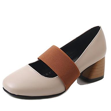 Mujer Zapatos PU Primavera Confort Tacones Talón de bloque Dedo cuadrada Negro / Marrón nPOhLVcpRd