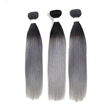 povoljno Ekstenzije od ljudske kose-3 paketa Brazilska kosa Ravan kroj Remy kosa Ombre Isprepliće ljudske kose Proširenja ljudske kose / 10A