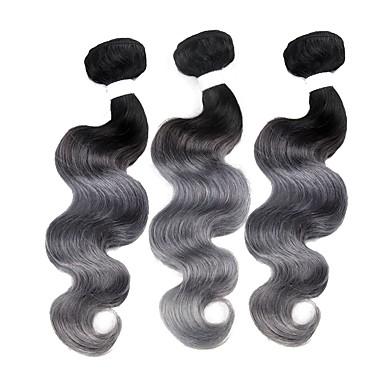 povoljno Ekstenzije od ljudske kose-3 paketa Brazilska kosa Tijelo Wave Remy kosa Ombre Isprepliće ljudske kose Proširenja ljudske kose / 10A