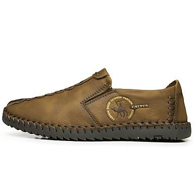 Hombre Zapatos Cuero de Napa Primavera & Otoño Mocasín Zapatos de taco bajo y Slip-On Marrón / Caqui gS0ttQyrz